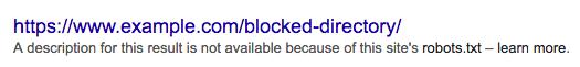 robots.txt blocked url directory